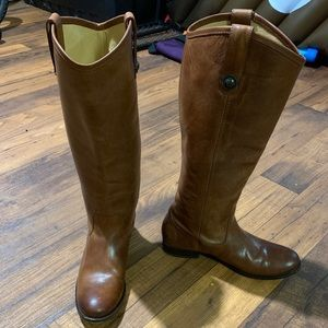 Frye boots, Melissa button, cognac, lightly used